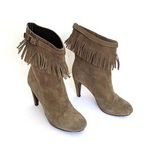 Anthropologie Paola Ferri Taupe Fringe Ankle Boots
